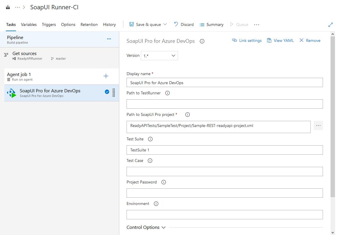 Configure a SoapUI Pro for Azure DevOps task