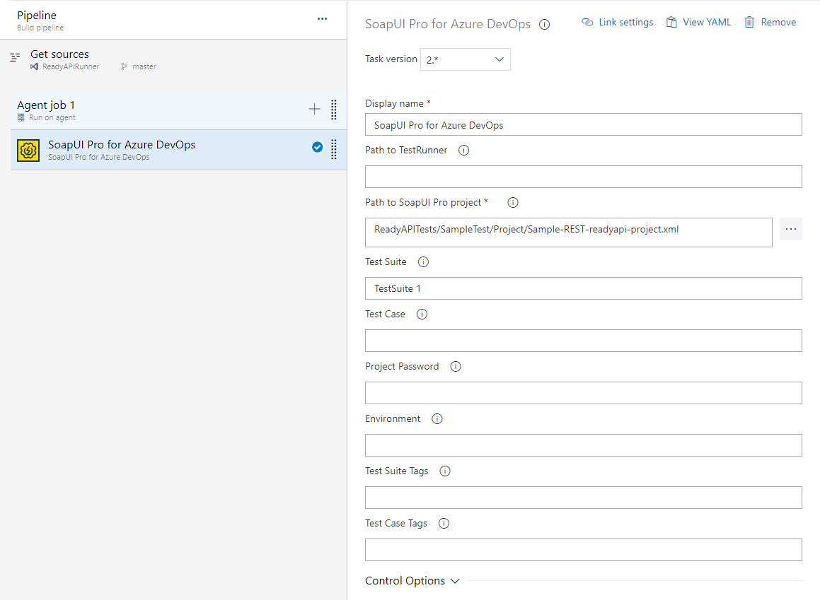 Configure a SoapUI Pro for Azure DevOps task